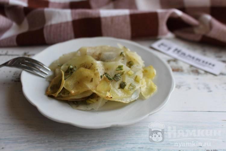 Картофель с зеленым луком в духовке по-французски