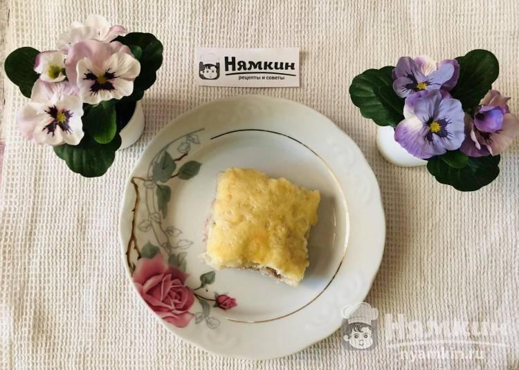 Картофельная запеканка с мясным фаршем, сыром и сметаной