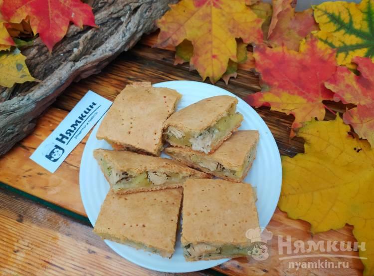 Песочный пирог с курицей, картофелем и луком: вкусный и сочный