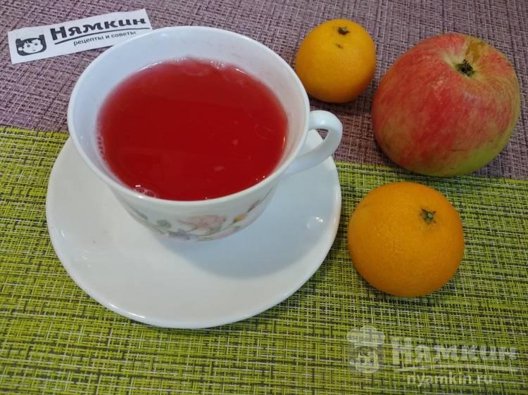 Клюквенно-яблочный компот с мандариновым ароматом и мятой