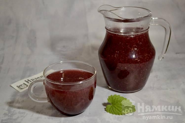 Кисель из замороженных ягод вишни и малины