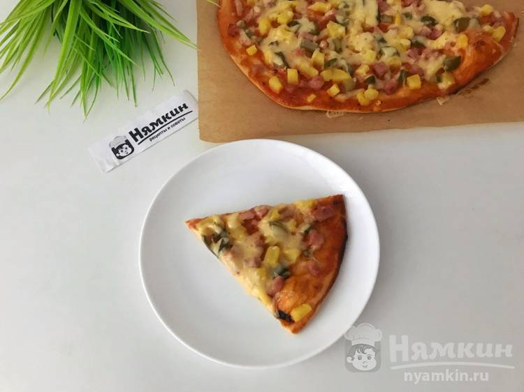 Русская пицца на тонком тесте в домашних условиях