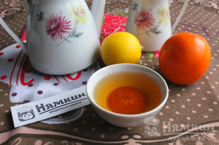 Зеленый чай с лимоном, чабрецом, мятой и хурмой