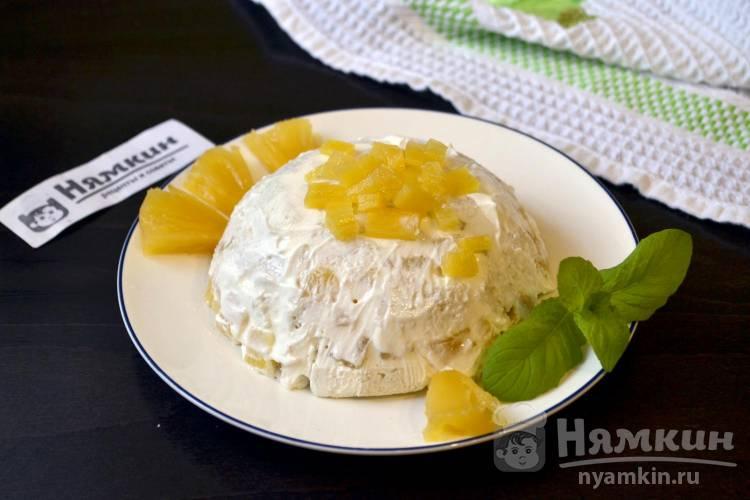 Торт без выпечки из батона и консервированных ананасов со сметанным кремом