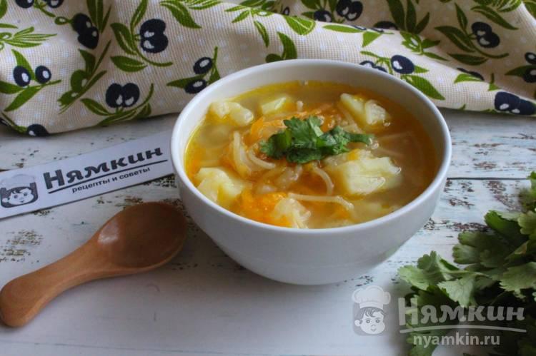 Суп с вермишелью, цветной капустой и овощами