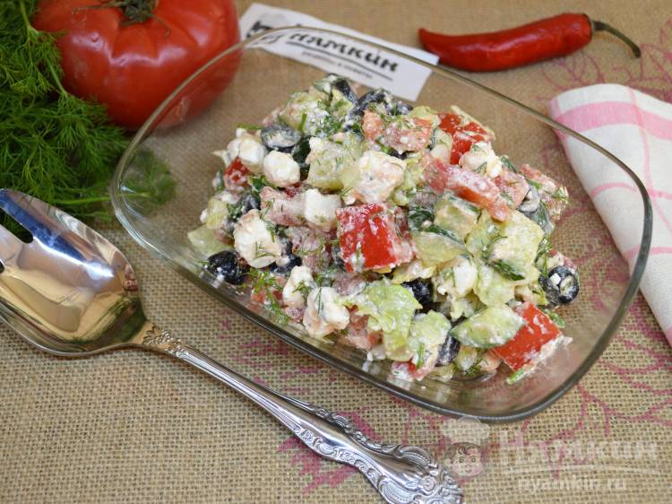 Греческий салат в домашних условиях из овощей и творожного сыра фетаки