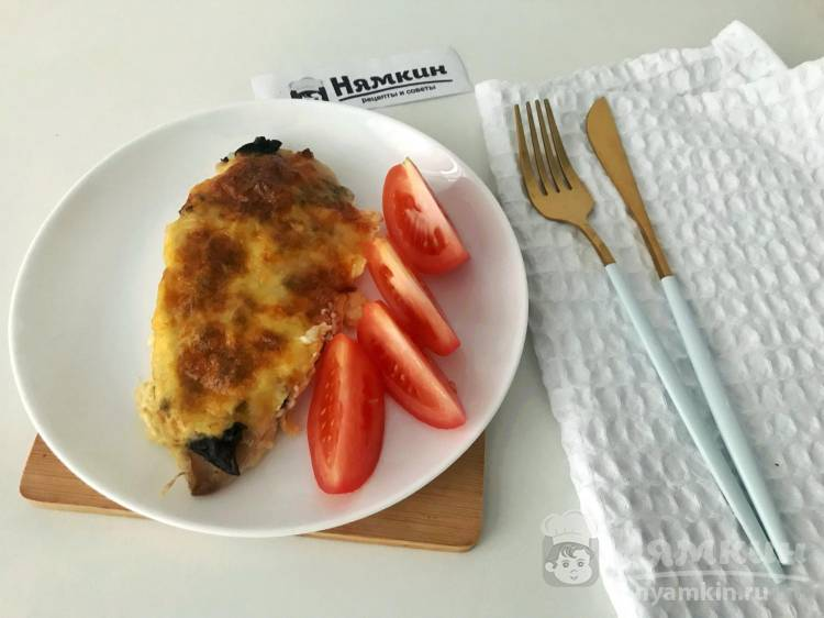 Отбивные из куриной грудки с грибами и сыром моцарелла