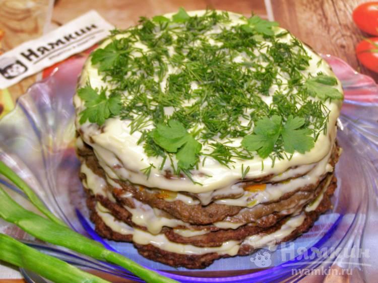Печёночный торт из говяжьей печени с луком и морковью
