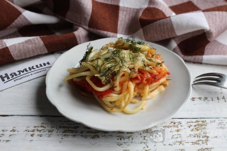 Запеканка из макарон в духовке с овощами и сыром