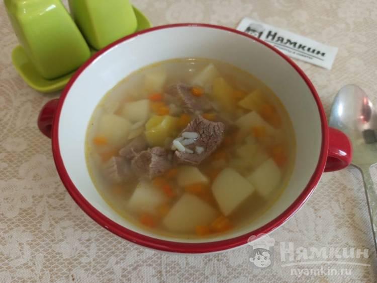 Суп с говядиной, рисом и овощами для детей