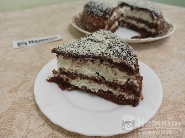 Шоколадный торт с творожно-сметанным кремом в мультиварке