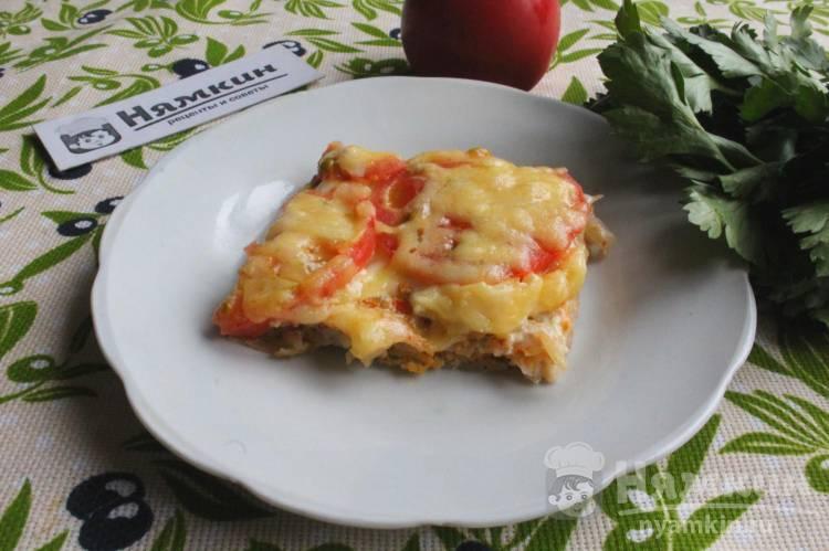 Картофельная запеканка с овощами и сыром а-ля пицца