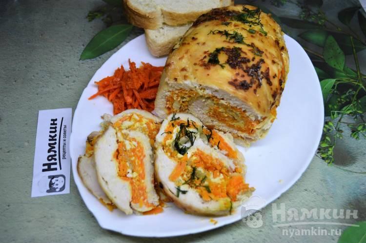 Рулет из куриной грудки с морковью, сыром и яйцом в духовке