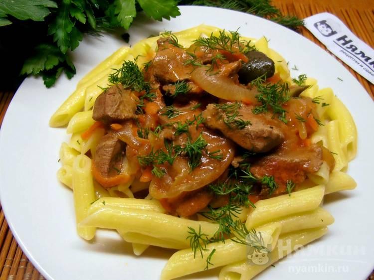 Подлива из печени с овощами к макаронам