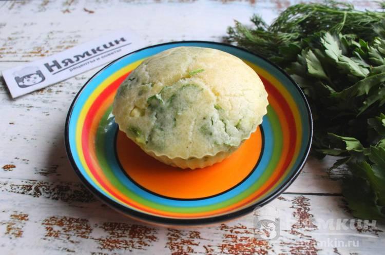 Закусочные маффины с зеленью в духовке