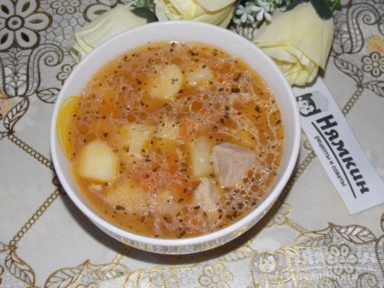 Суп из свинины с картофелем и овощами в мультиварке