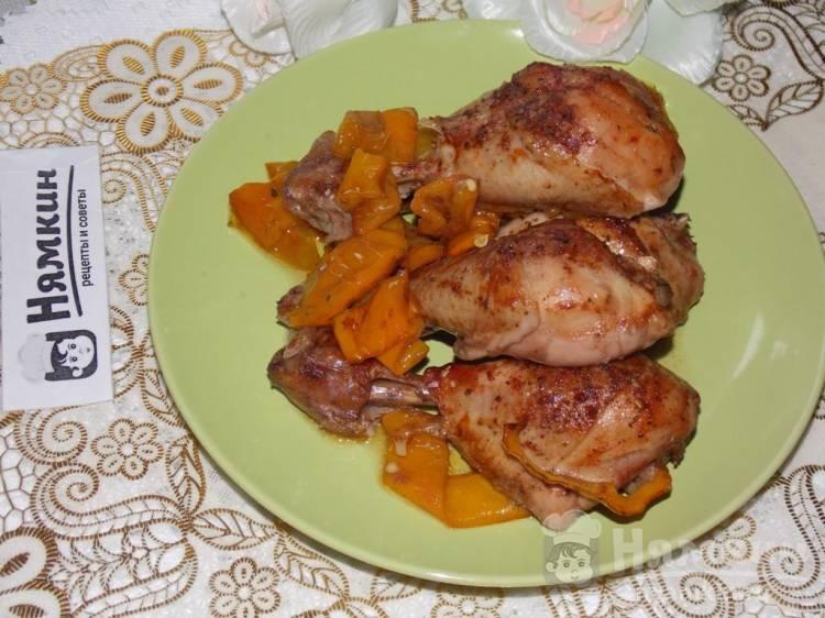 Куриные голени в гранатовом маринаде со сладким перцем в духовке