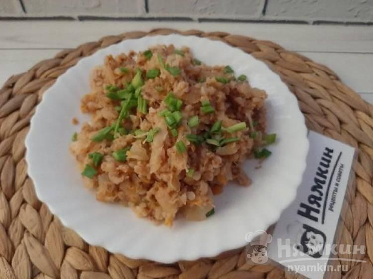 Тушеная гречка со свининой и капустой в мультиварке