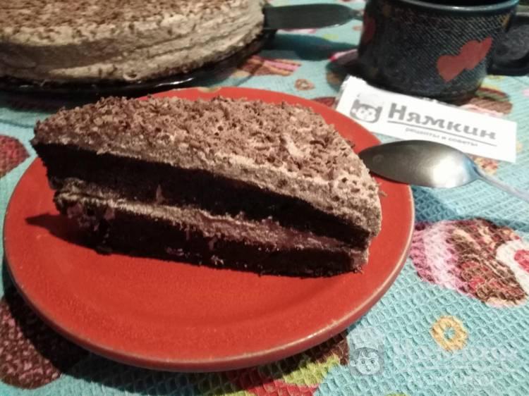 Шоколадный бисквитный торт Пломбир с заварным кремом