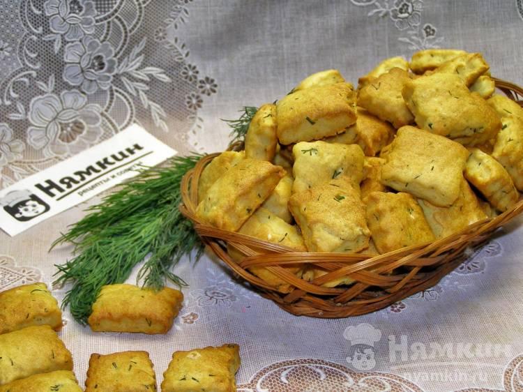 Солёные крекеры с укропом в духовке