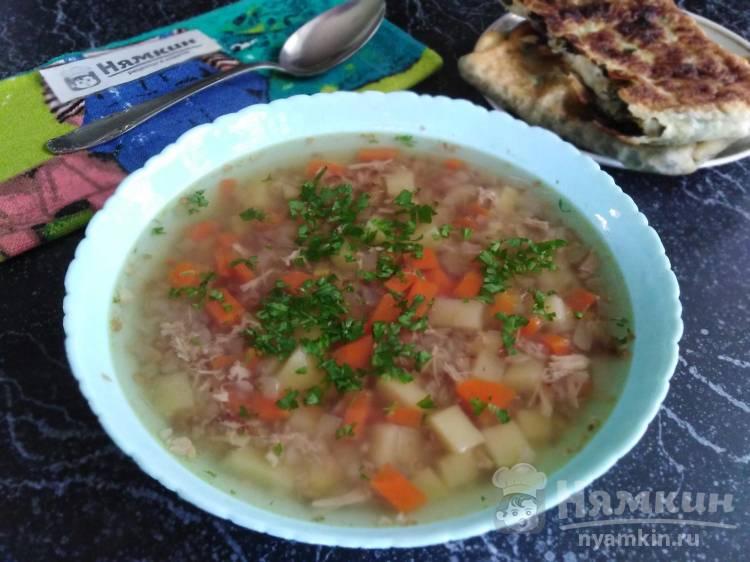 Суп с жареной гречкой и курицей в мультиварке