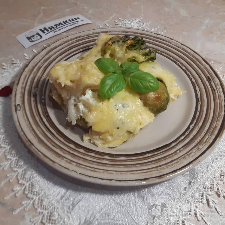 Запеканка из трех видов капусты под сырной корочкой