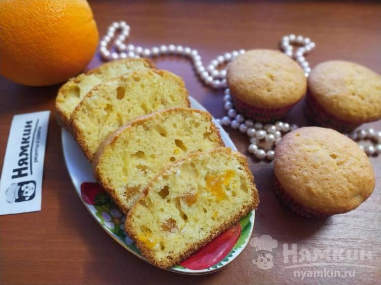 Апельсиновые кексы на растительном масле с курагой