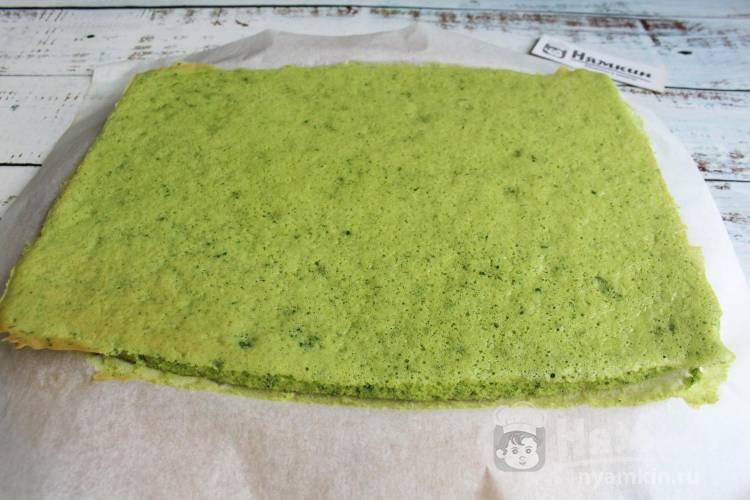 Бисквит со шпинатом для тортов и пирожных