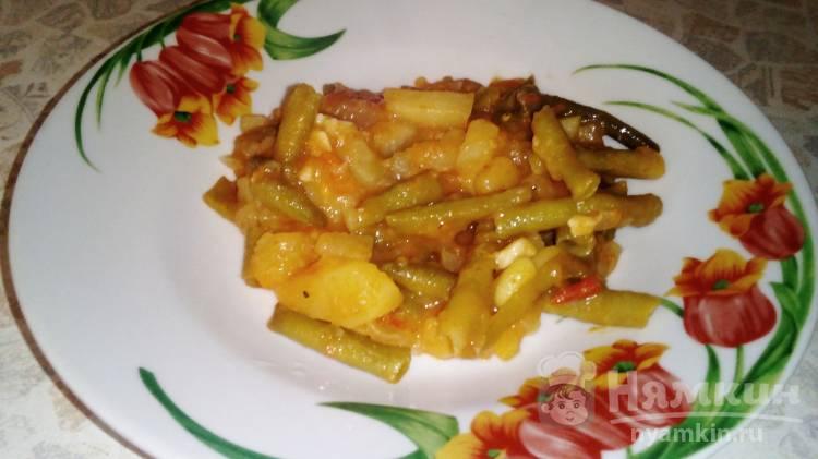Картофель со стручковой фасолью на сковороде - фото шаг 10
